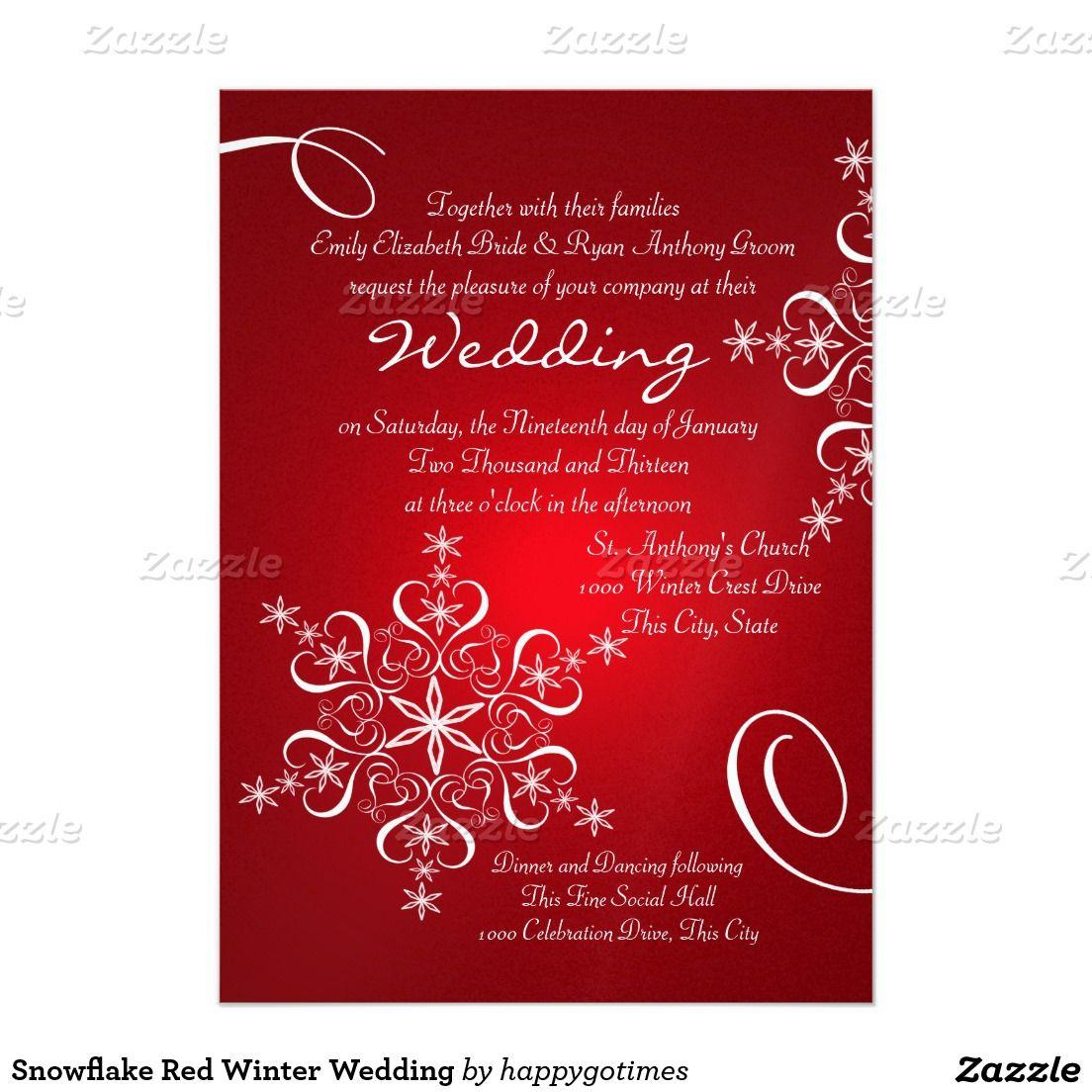 Snowflake Red Winter Wedding Invitation   Pinterest   Red winter ...