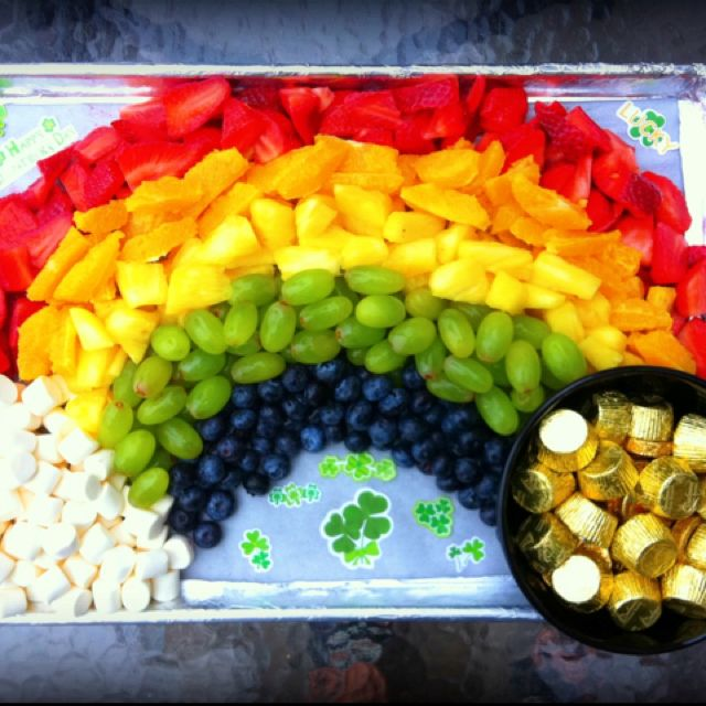 St Patrick S Day Fruit Tray With Marshmallow Clowd And