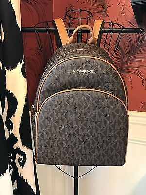 900252c6a5c0 NWT MICHAEL KORS SIGNATURE PVC ABBEY LARGE BACKPACK BAG IN BROWN/ACORN