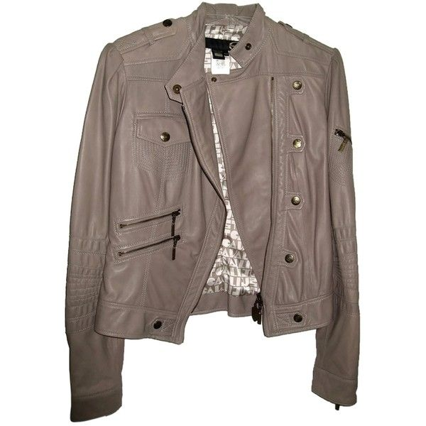 Pre-owned Just Cavalli Moto Dove Nappa Leather Like New Grey Leather... ($609) ❤ liked on Polyvore featuring outerwear, jackets, grey, leather jacket, button jacket, grey leather jacket, leather zip jacket and 100 leather jacket