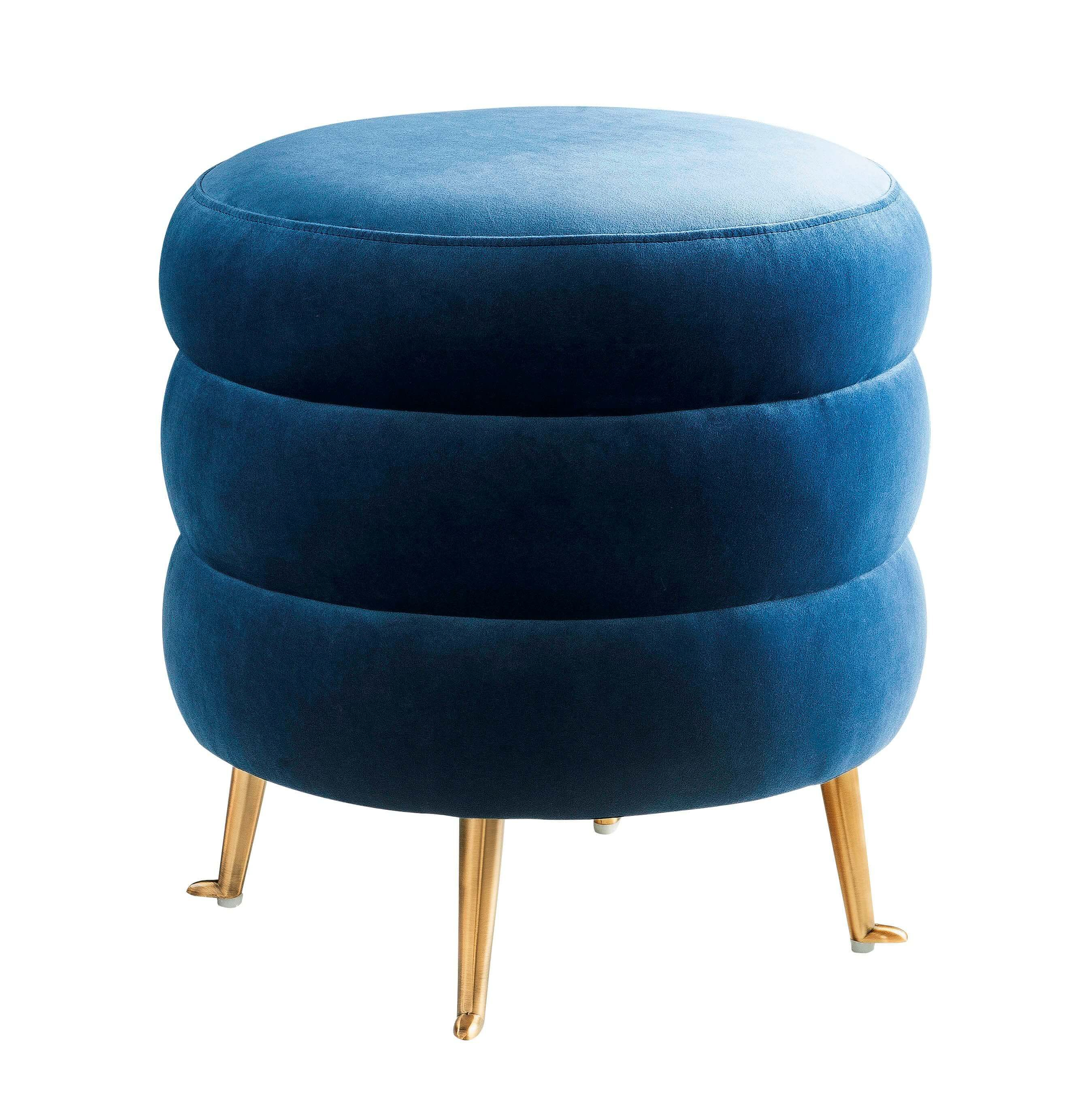 Ladder Blue Velvet Ottoman Tov Furniture With Images Velvet Ottoman Ottoman