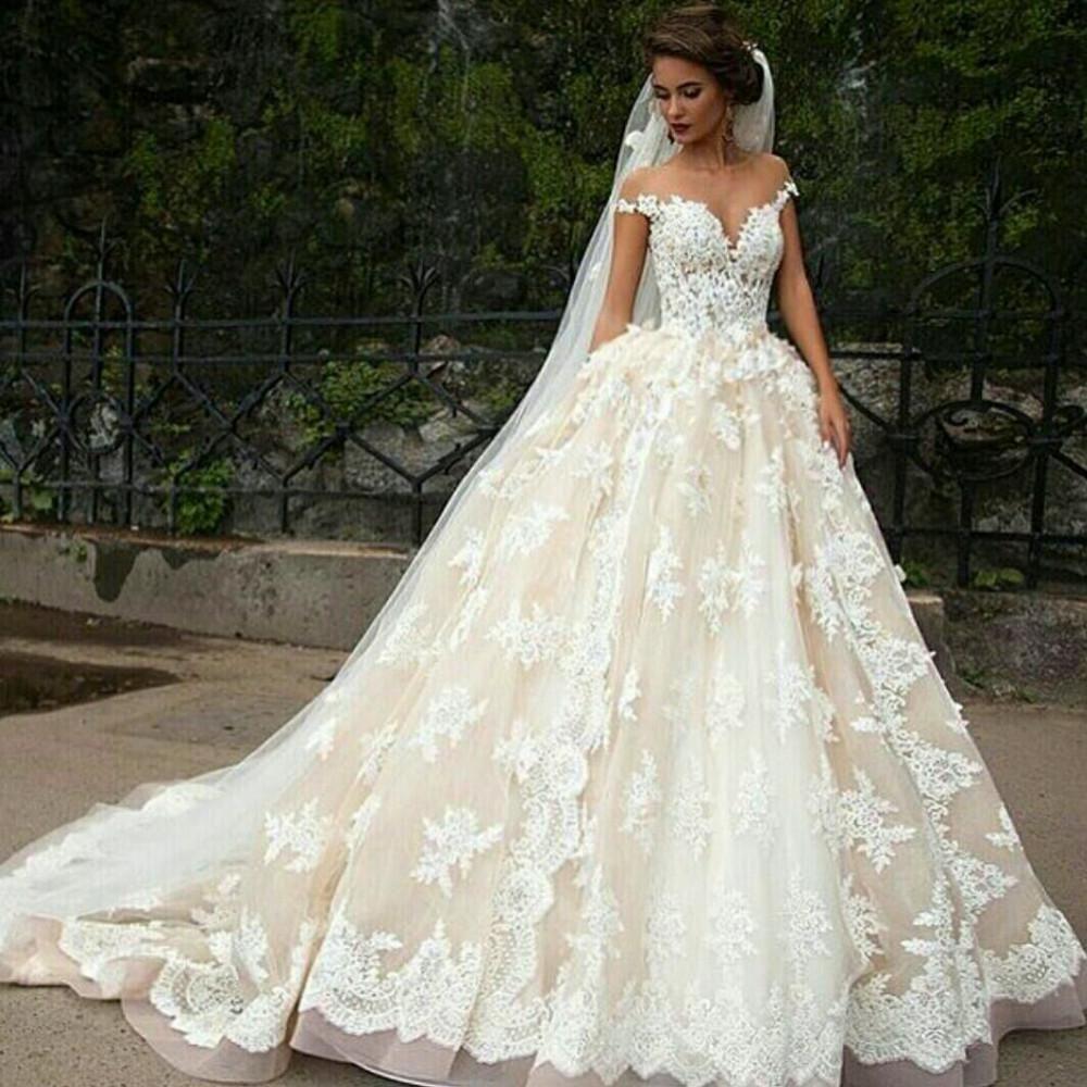 Formal elegant cap sleeves aline ivory lace long wedding dress