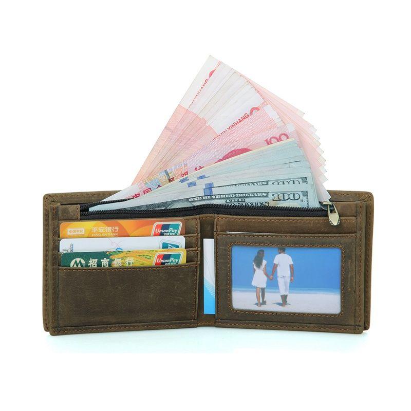 J.M.D Men Wallet Crazy Horse Leather Casual Short Card Case Wallet ...