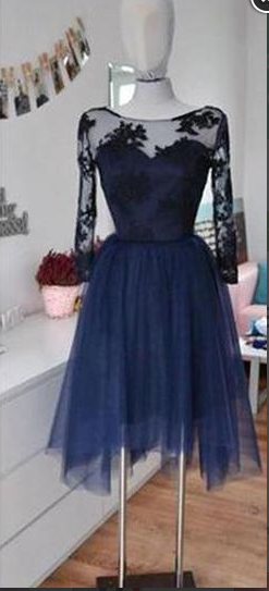 ac44335f25d Top Selling 3 4 Sleeves Lace Navy Blue Homecoming Dresses
