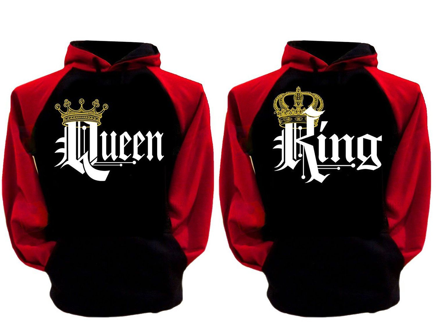 e4384436 Couple Matching King Queen Crown Raglan Hoodie Pullover Hooded Sweatshirt