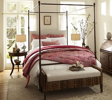 Antonia Canopy Bed #potterybarn $1550 Steel frame antique bronze padded linen headboard : antonia canopy bed - memphite.com
