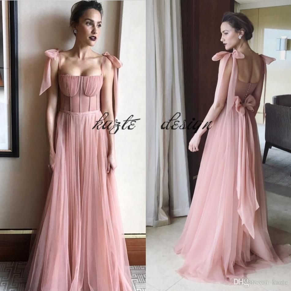 34a0fe8498d3b Vintage Blush Evening Gowns Spaghetti Backless Exposed Boning Prom Dress A  Line Floor Length Celebrity Party