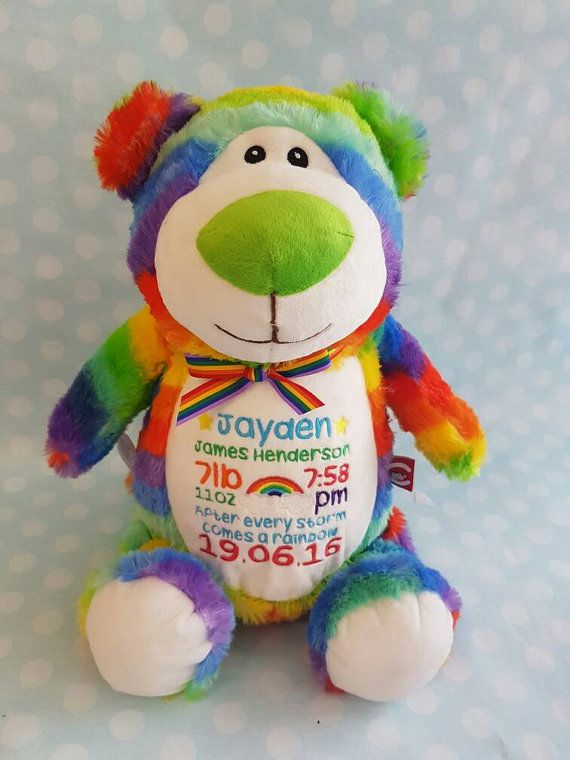 Personalised multicoloured rainbow bear cubbie teddy bear perfect rainbow baby gift personalised with birth details or whatever you like