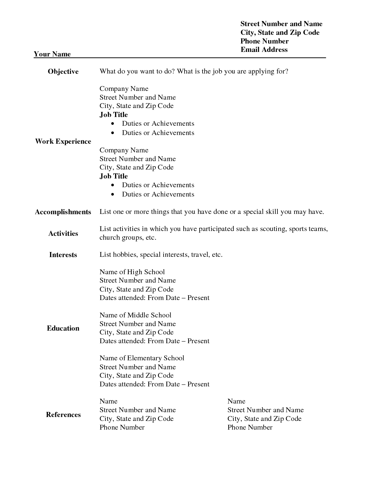 Download Free Blank Resume Form Template