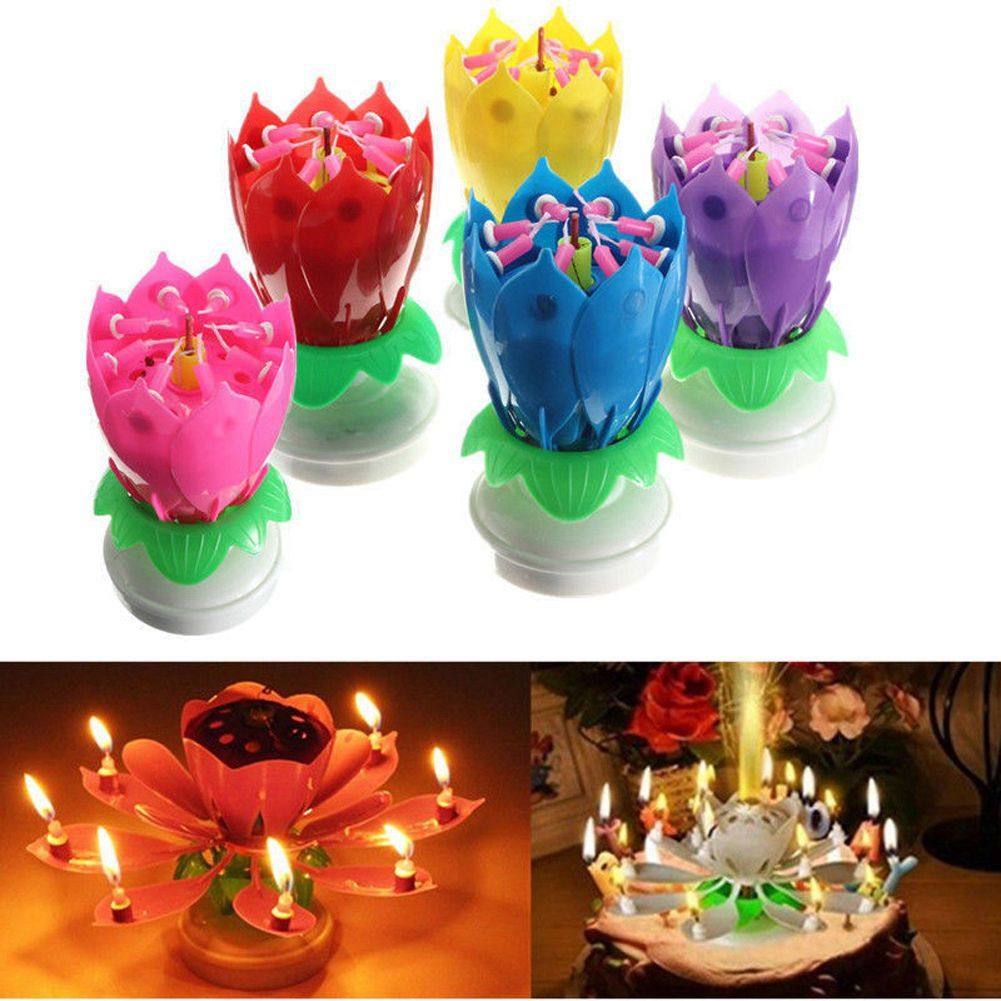 Us Amazing Musical Rotating Lotus Flower Birthday Candle Party