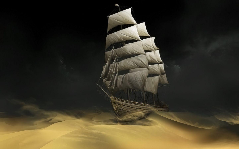 Fantasy ship cliff jolly roger pirate ship rock lightning wallpaper - Inga Nielsen Digital Art Wallpapers Sailing In The Desert Fantasy Art Painting 2