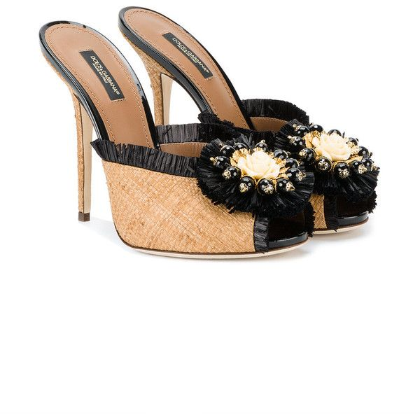 7239248d32e8 Dolce Gabbana Embellished Raffia Mules ( 995) ❤ liked on Polyvore featuring  shoes