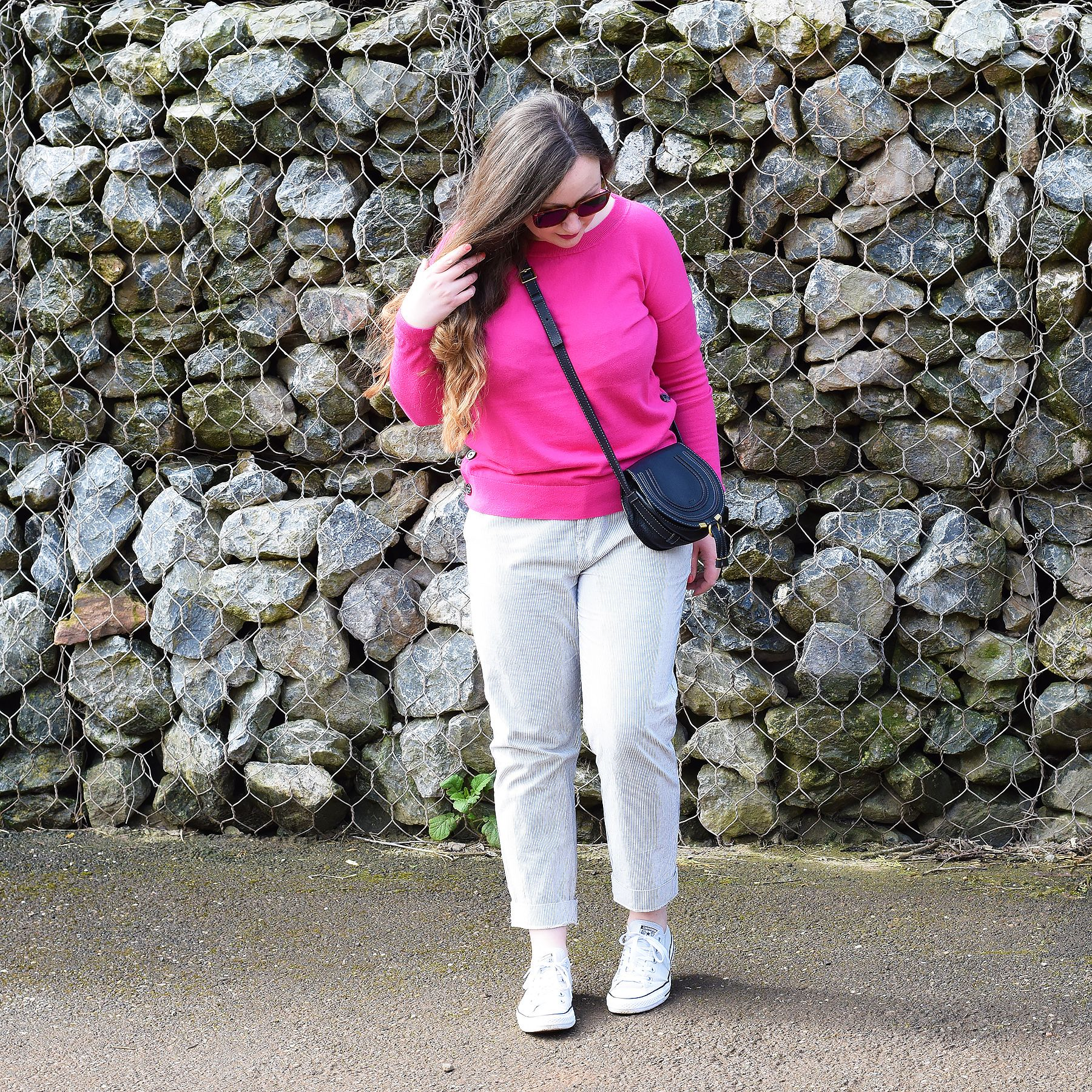 fa38d20f6449a Striped Trousers And Pink Jumper Outfit