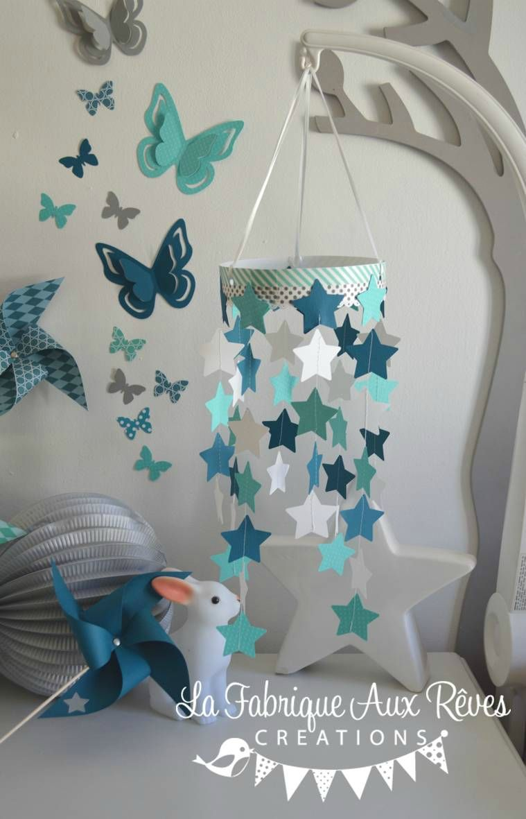 Mobile toiles b b gar on turquoise cara be p trole blanc for Deco bleu petrole
