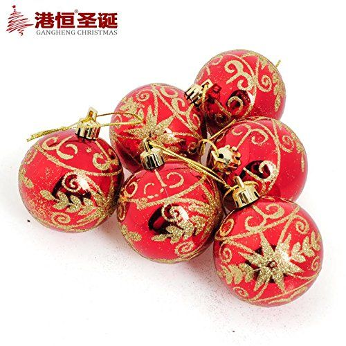decorated tree Christmas balls hang 6cm light red color hot stamping coloured drawing or pattern (6) 55g styrofoam crafts * Read more at the image link.