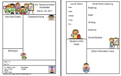 Teacher Newsletter Template Free From Firstgradebrain On
