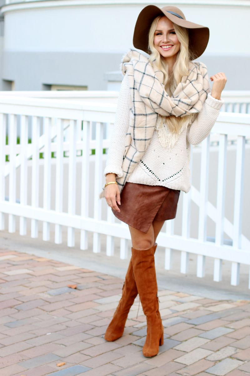 301ddc2e Outfit Faux Leather Skirt HM Knit Zara Gemometric Scarf Zara Brown Suede  Leather Boots 4