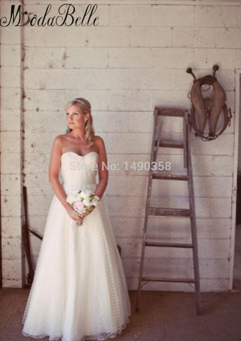 Silhouette wedding dresses simple bridal   Romantic Simple Polka Dot Wedding Dress For Casual Country