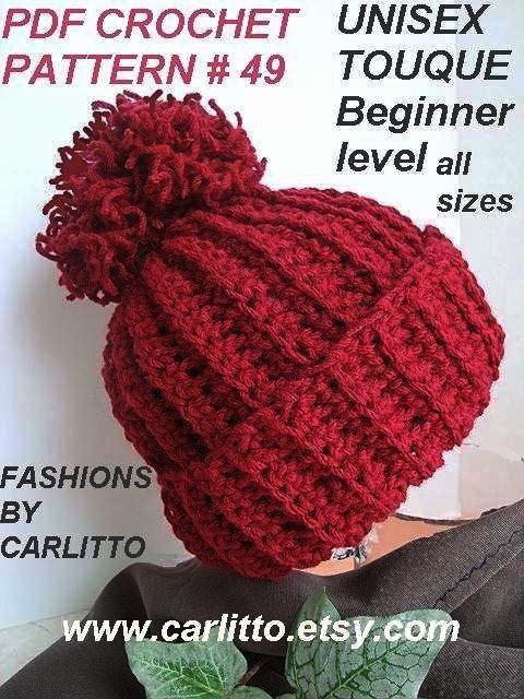 crochet pattern hat, num 49 .UNISEX TOUQUE. no fail, men , womens ...