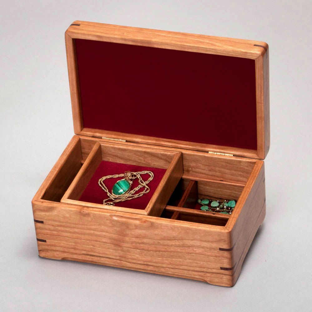 Wood Jewelry Box with Divider Sliding Box and Velvet Lining