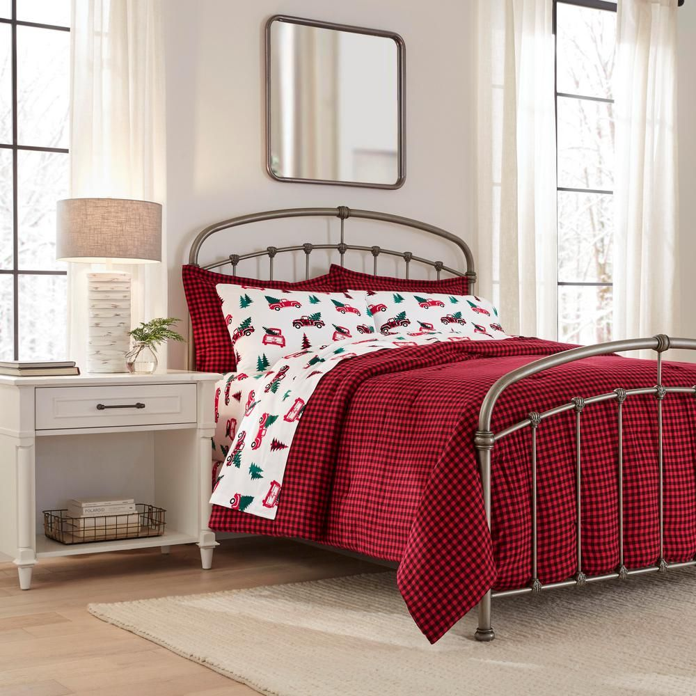 Home Decorators Collection 3 Piece Full Queen Flannel Comforter Set In Red Buffalo Check Comforter Sets Home Decorators Collection Queen Comforter Sets