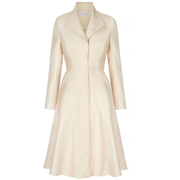 The-Hunter-Revere-Collar-Coat-Dress-Peaches (£1,250) ❤ liked on Polyvore featuring outerwear, coats, suzannah, collar coat, peach coat and pink coat