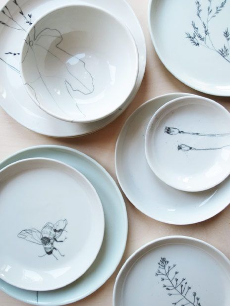 One Of A Kind Plates All Casted By Elke Van Den Berg And Drawn By Maartje Van Den Noort Pottery Plates Ceramic Pottery Ceramic Design