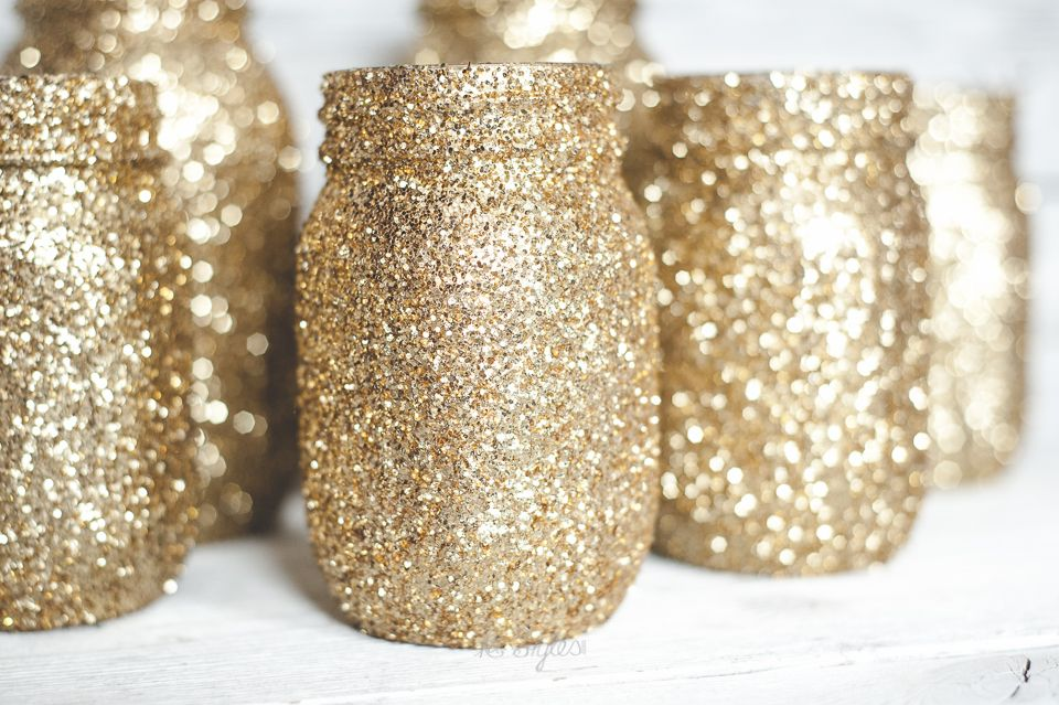 Gold Glitter Mason Jars. Perfect for New Years!