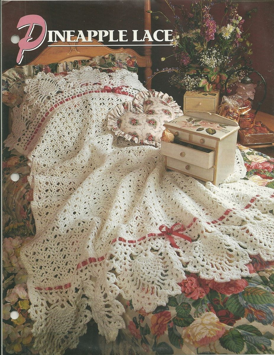 Crochet Pattern Pineapple Lace Afghan Blanket Throw Shawl Afghan