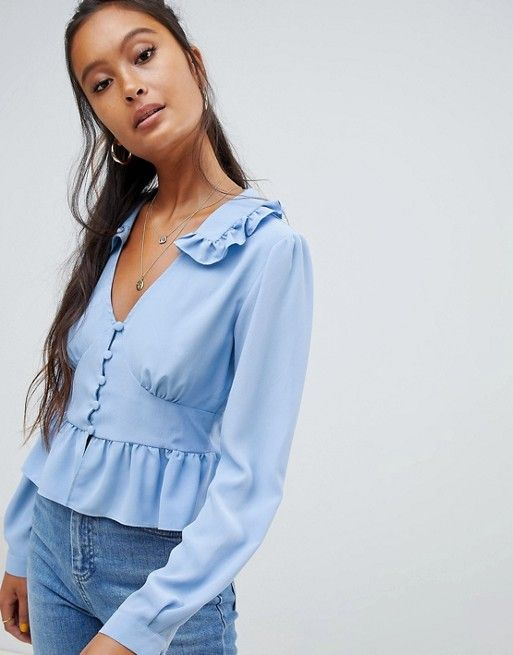 8e86241e DESIGN cropped tea blouse with pephem and long sleeves in 2019 ...