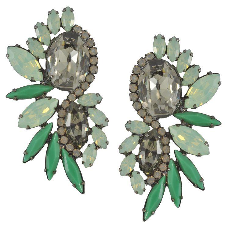 Elizabeth Cole Mint Diamond Earrings