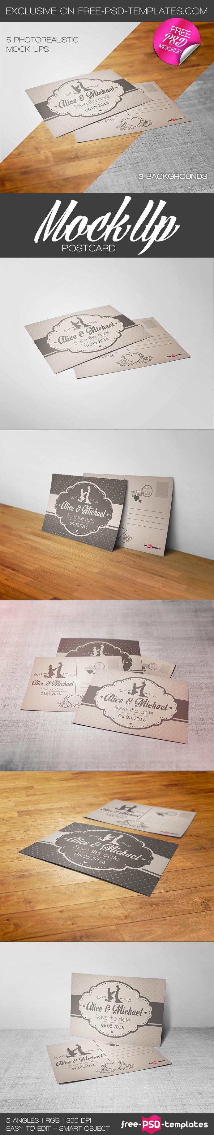 Free 5 Postcard Mockups (244 MB) | free-psd-templates.com | #free #photoshop #mockup
