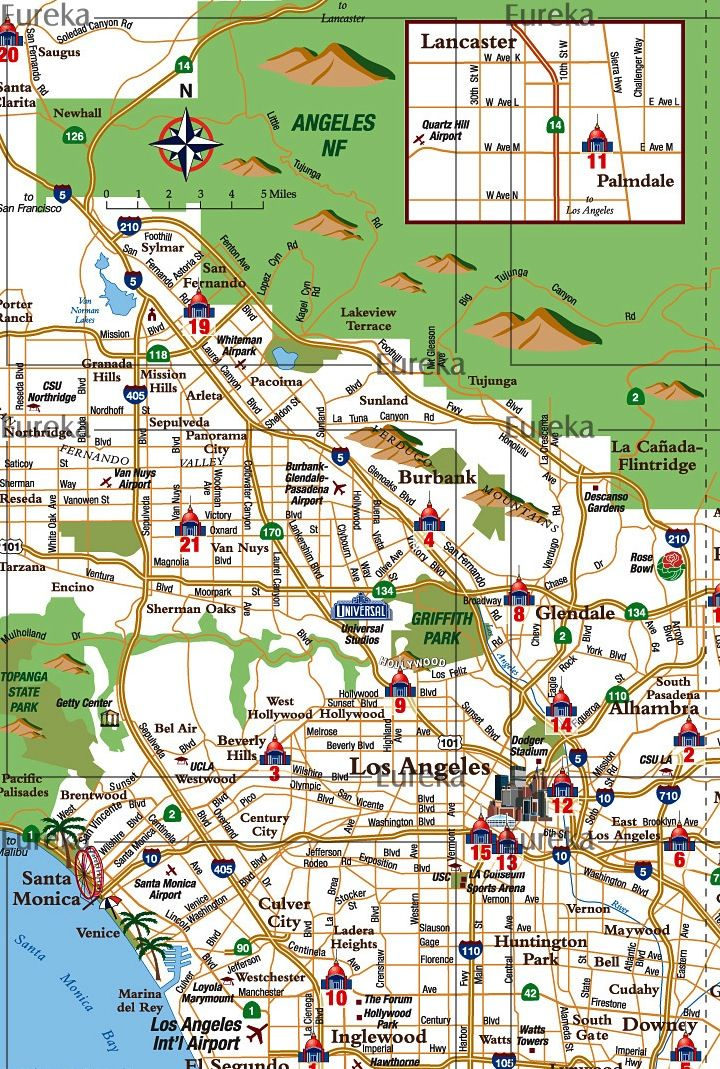 Los Angeles Map Location.Los Angeles Courthouse Locations Map C Eureka Cartography Berkeley