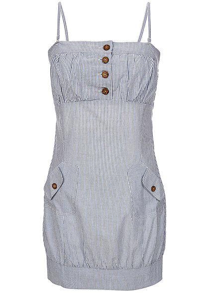 Hailys Damen Mini Kleid AM-1014053 Knopfleiste Streifen Muster blau ...