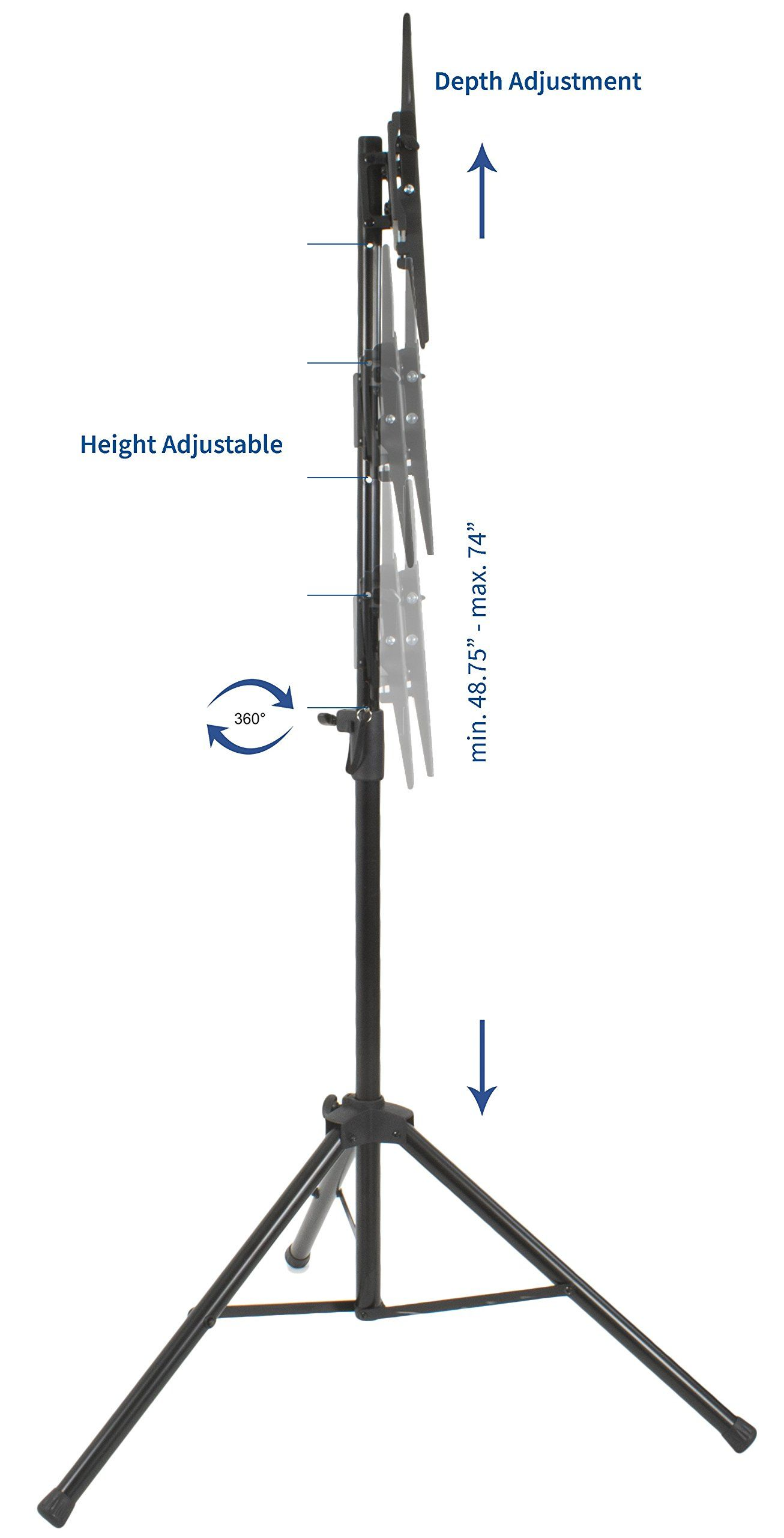 Vivo Black Tripod Tv Display Portable Floor Stand Height