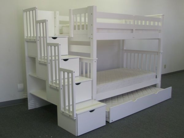 Lades In Trap : Bunk beds twin over full stairway white trundle kinderkamer