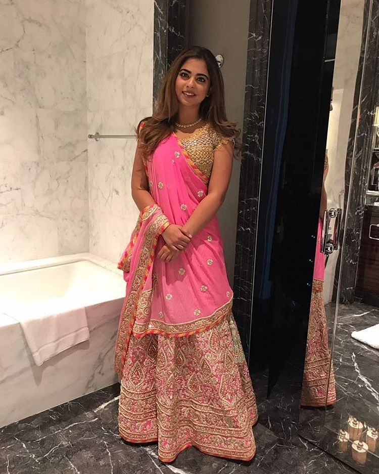 Abu Jani Sandeep Khosla On Instagram Ishaambani Looks Fabulous In A Pink Lehenga By Abu Jani Sandeep Khosla Abujani Fashion Bollywood Fashion Pink Lehenga