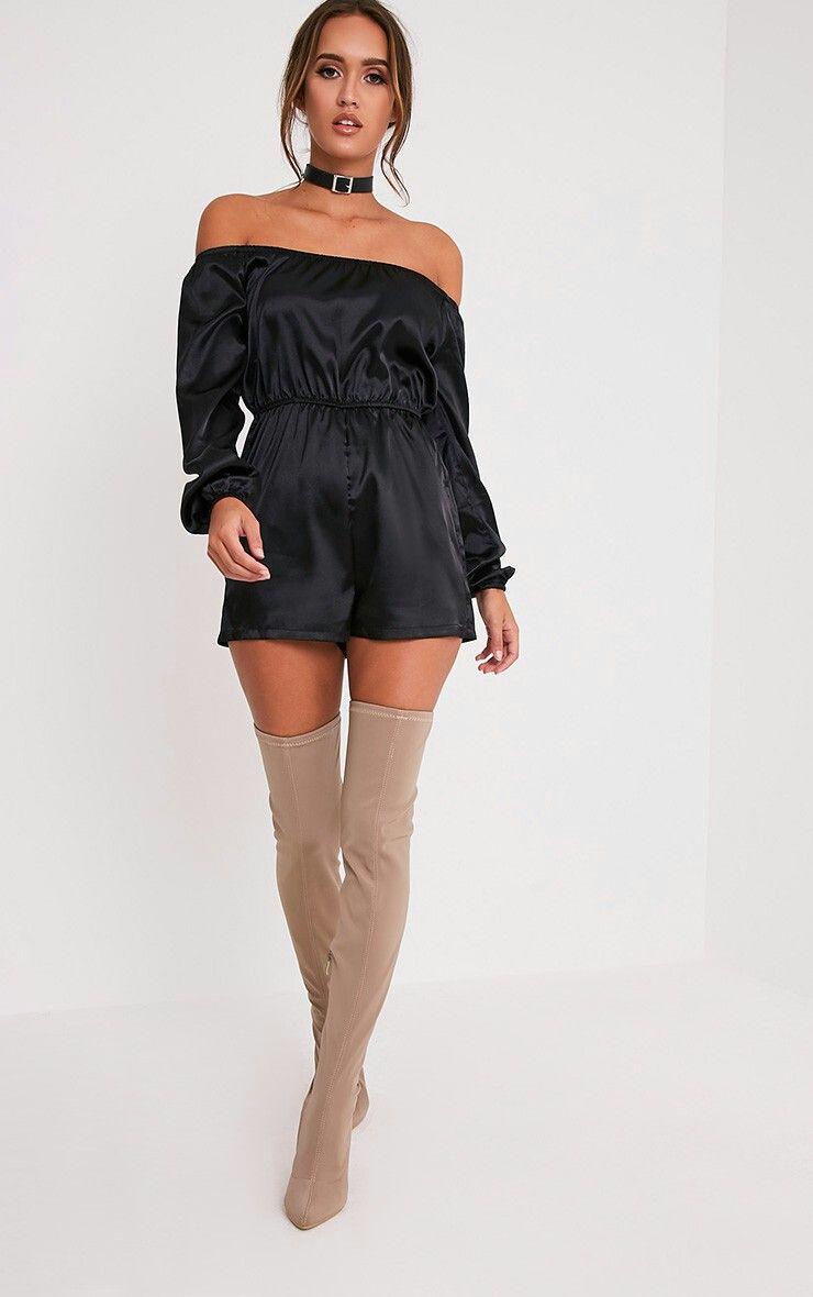 Black satin bardot play suit