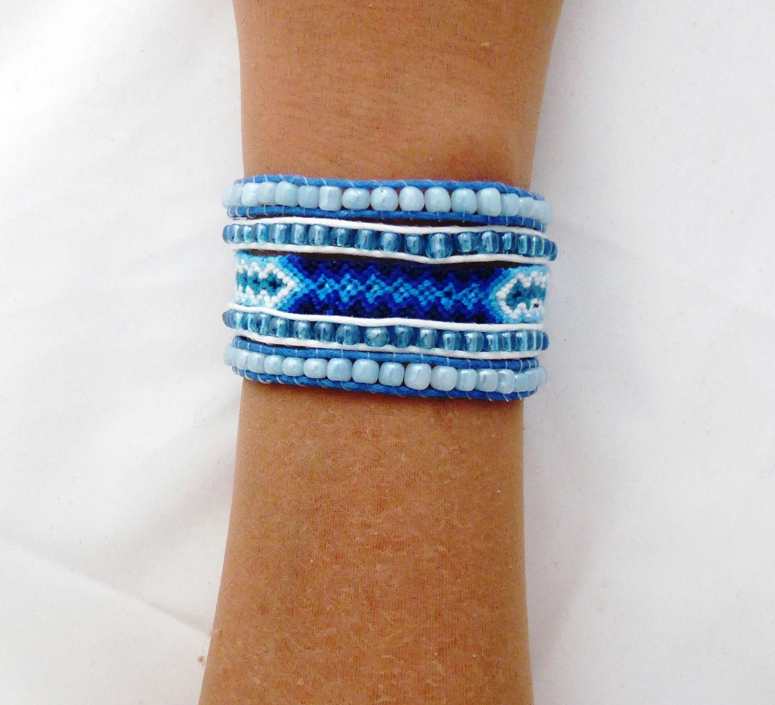 Bracelet multi rangs ethnique tendance bleu fermoir aimanté : Bracelet par kiline