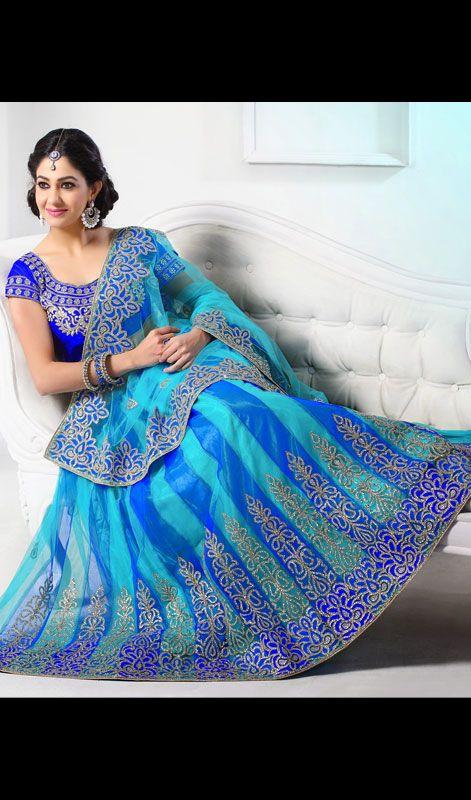 Turquoise and Blue Shade Net Lehenga Saree Price: Usa Dollar $217 ...