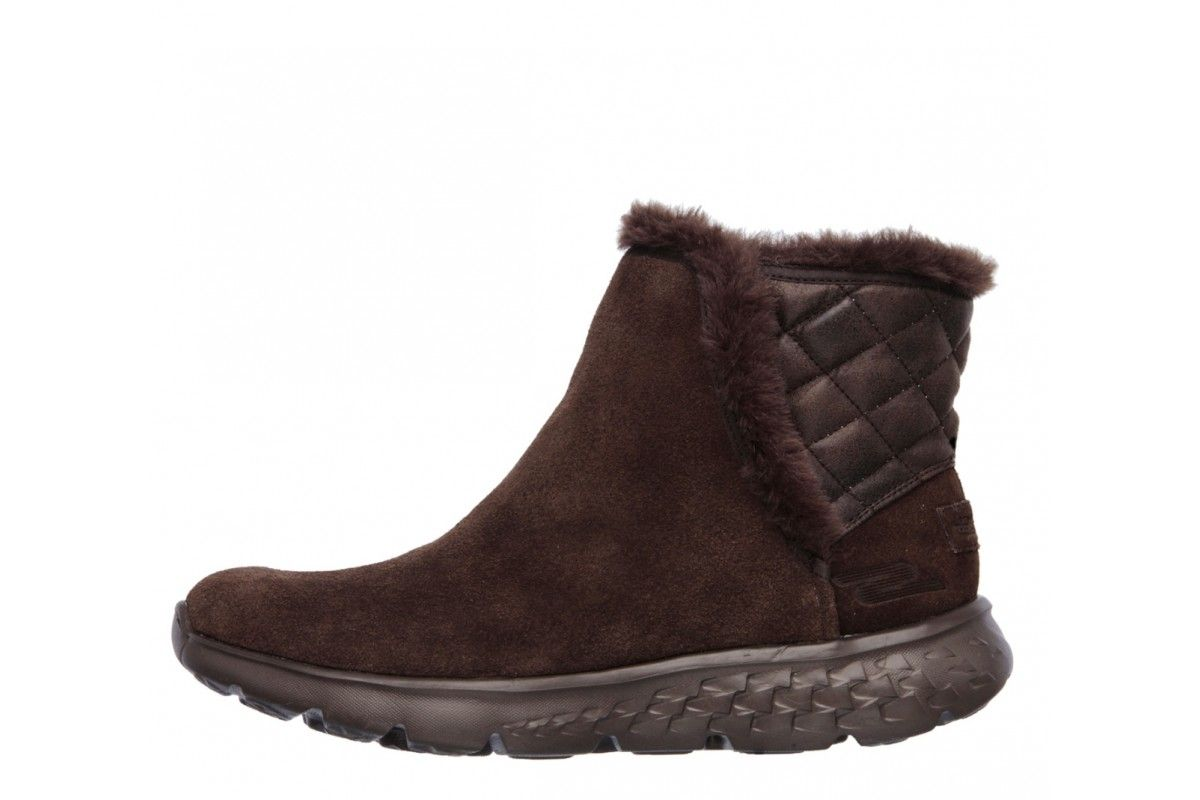 98cc91e09 Skechers On The Go 400 Cozies Chocolate Brown Suede Ankle Boots ...