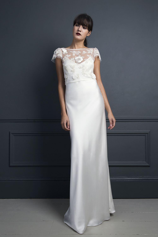 ade9a4b43ddd Mitzi leather top & Iris slip   I want   Slip wedding dress, Wedding ...