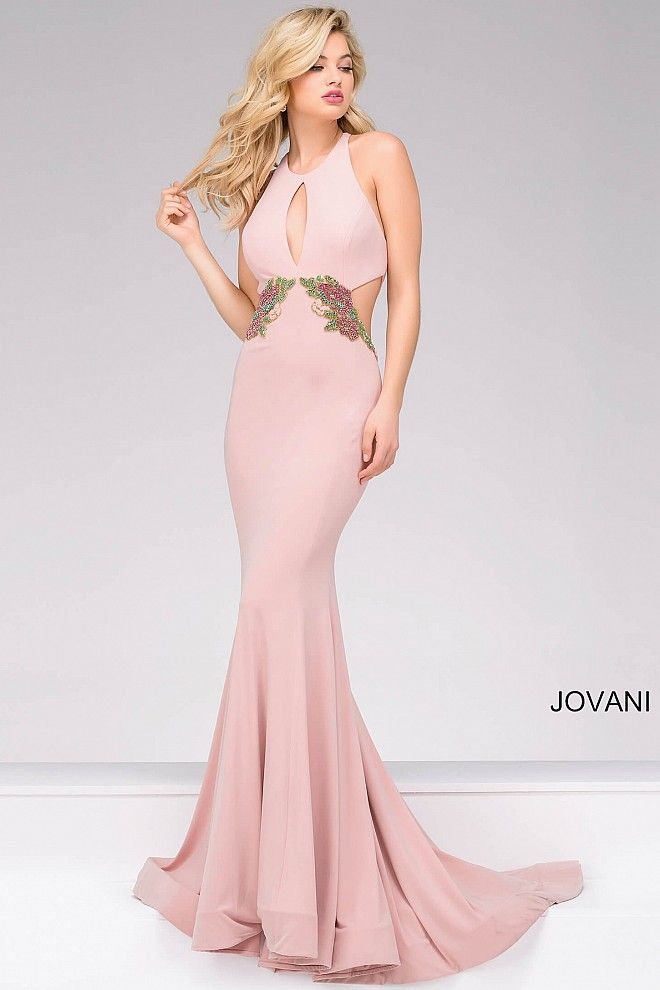 Pink long sleeveless fitted embellished waist dress with cut outs ...