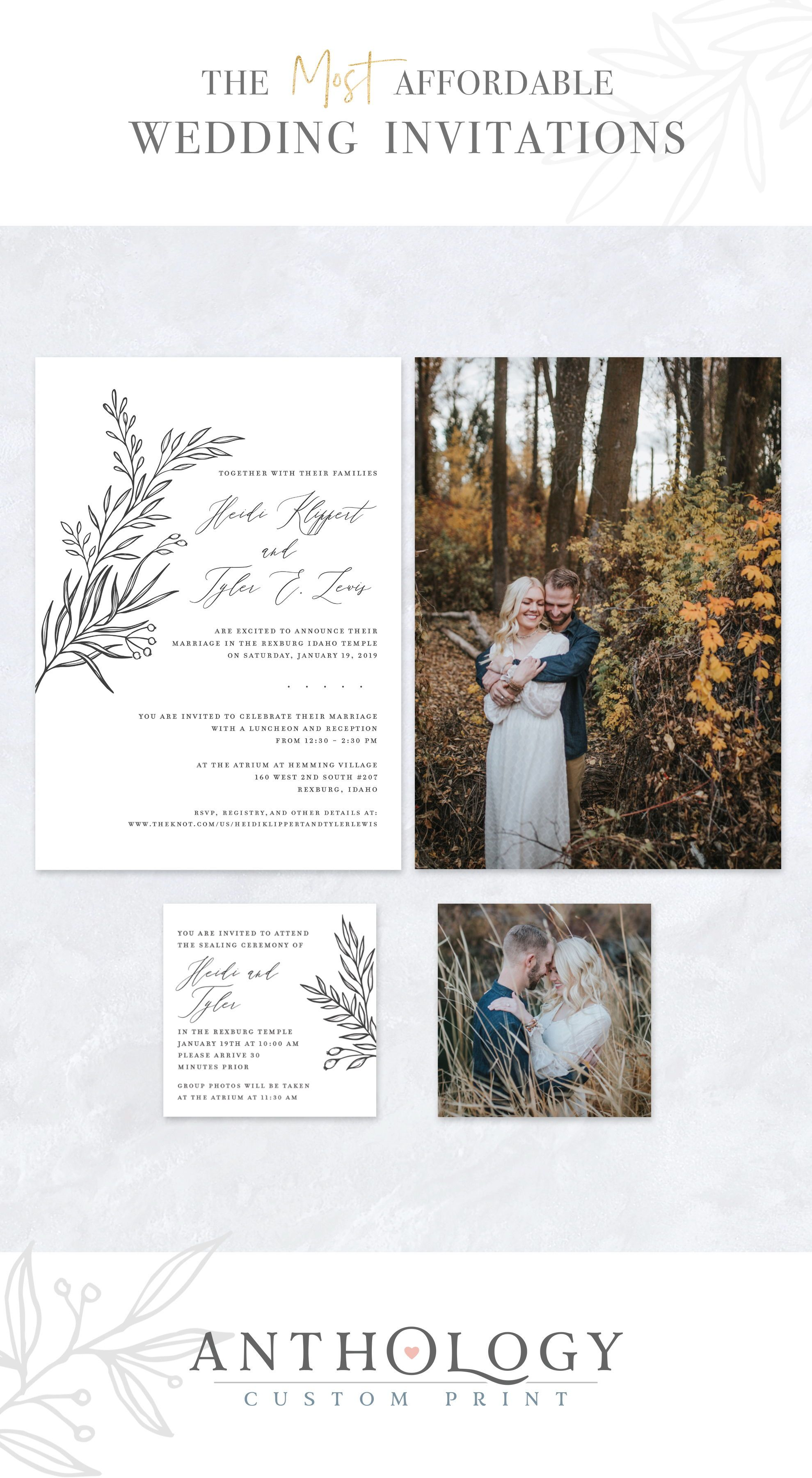Hand Drawn Floral Wedding Invites Affordable Wedding Invitations Antho Photo Wedding Invitations Wedding Invitation Inspiration Floral Wedding Invitations