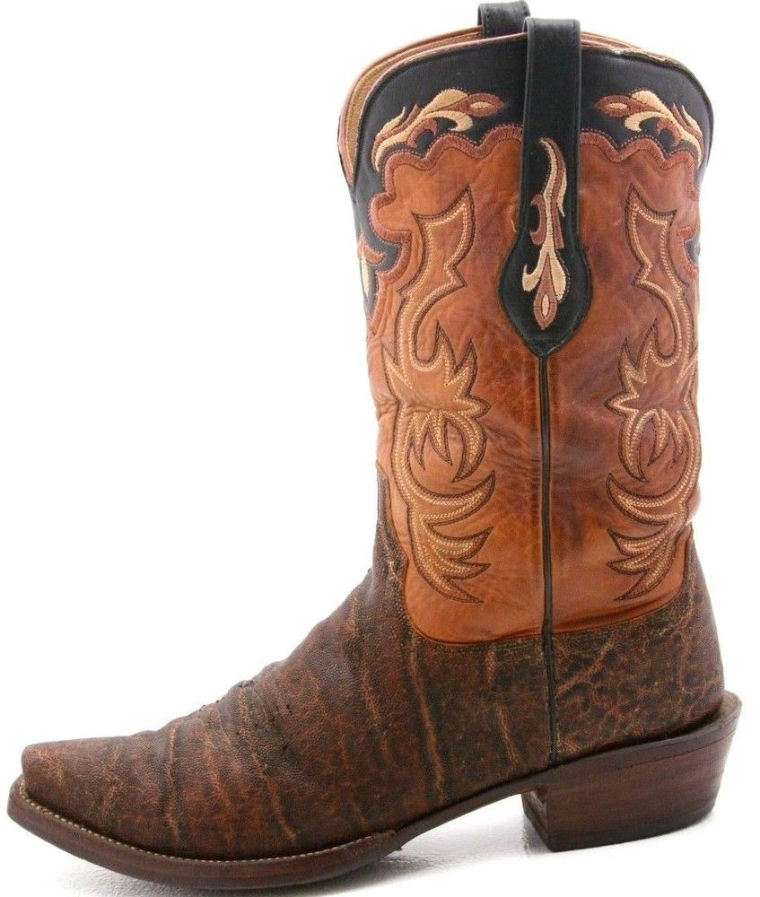 19e1a5d903e LUCCHESE COWBOY Mens exotic Boots Size 12 AFRICAN ELEPHANT SKIN ...