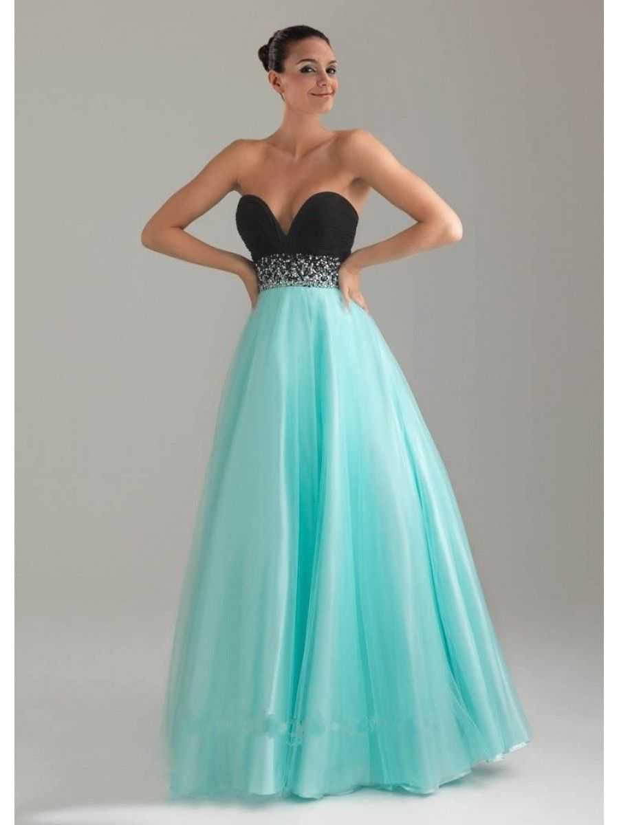 ALine Sweetheart Floor Length Pink and Black Tulle Prom Evening