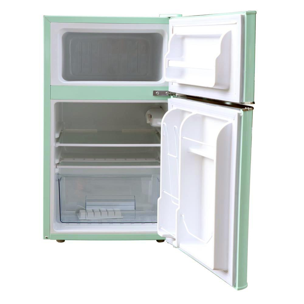 Magic Chef Retro 3 2 Cu Ft 2 Door Mini Fridge In Mint Green Hmcr320me The Home Depot In 2020 Mini Fridge Retro Fridge Magic Chef