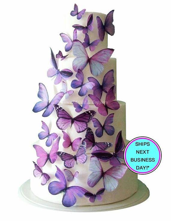 Wedding Cake Topper Purple Edible Erfly