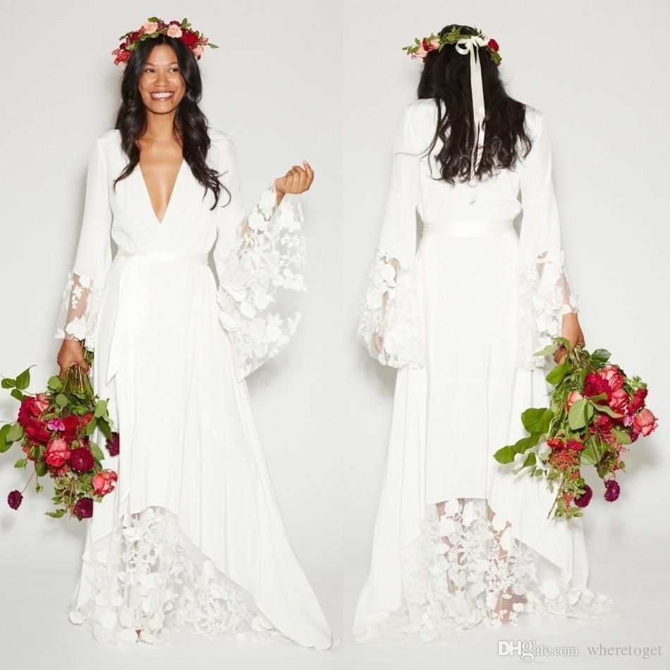 simple bohemian country wedding dress long sleeves deep v neck