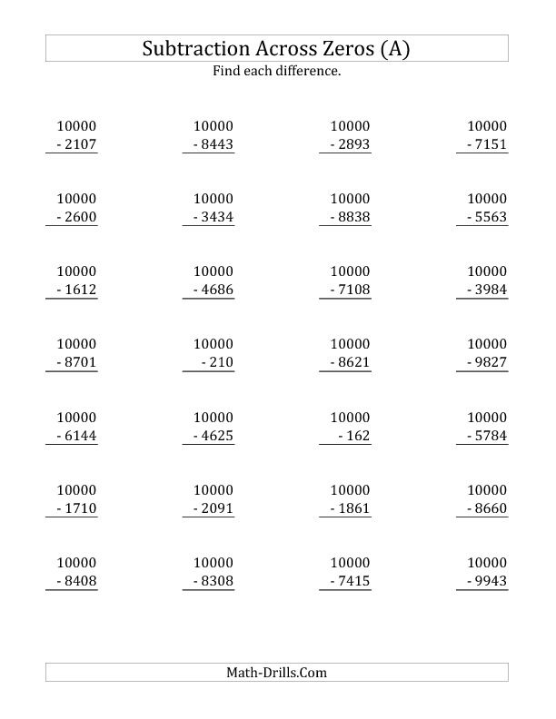 Subtracting Across Zeros from 10000 (A)   Home school   Pinterest ...